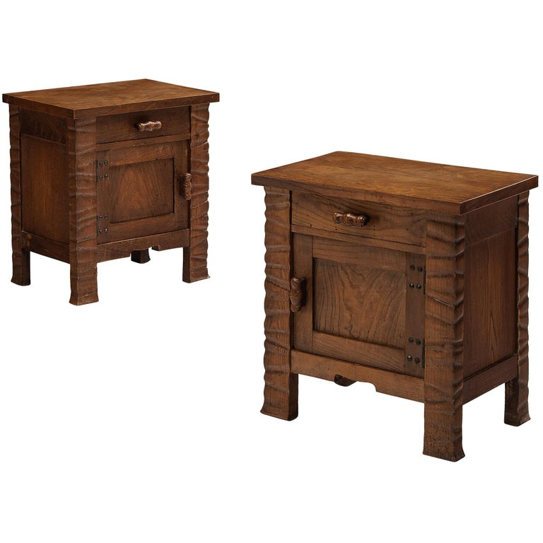 Pair of Nightstands in Oak by Ernesto Valabrega For Sale