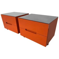Pair of Nightstands in Orange Lacquer Finish