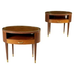 Pair of Nightstands Mahogany Brass Glass Vintage Italy, 1950s