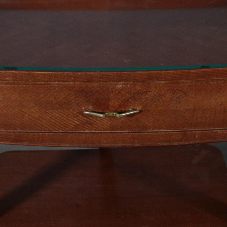 Mid-20th Century Pair of Nightstands Mahogany Veneer Glass Vintage, Italy, 1950s For Sale