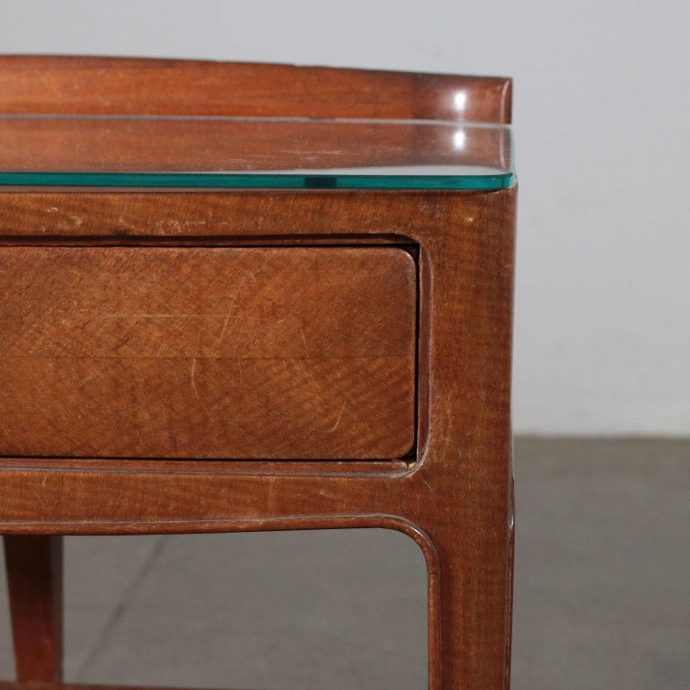 Pair of Nightstands Mahogany Veneer Glass Vintage, Italy, 1950s For Sale 1