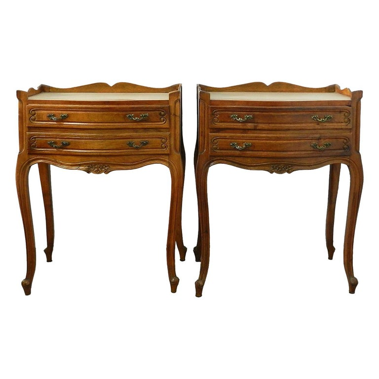 Pair of Nightstands Side Cabinets French Bedside Tables Louis Revival For Sale