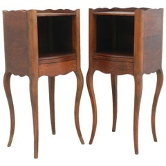 Pair of Nightstands Side Cabinets French Bedside Tables Oak, Early 20th Century