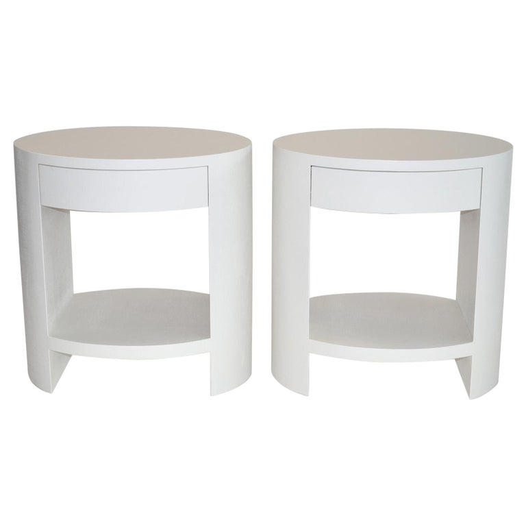 Pair of Nightstands Side or End Tables in Lacquered Linen or Grasscloth, 1970's For Sale