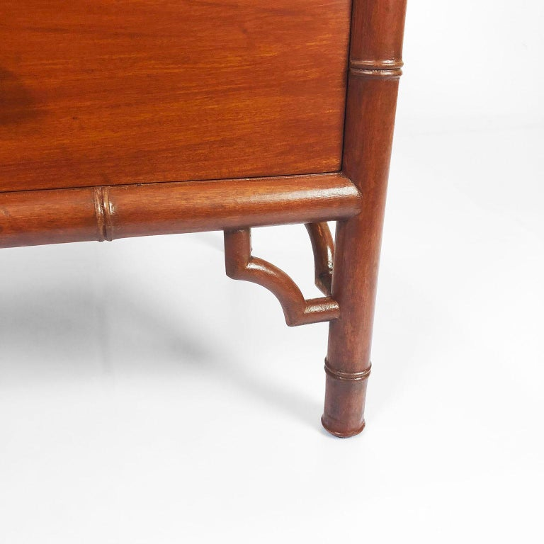 Pair of nightstands/side tables by Frank Kyle in solid mahogany recently restored, circa 1960.