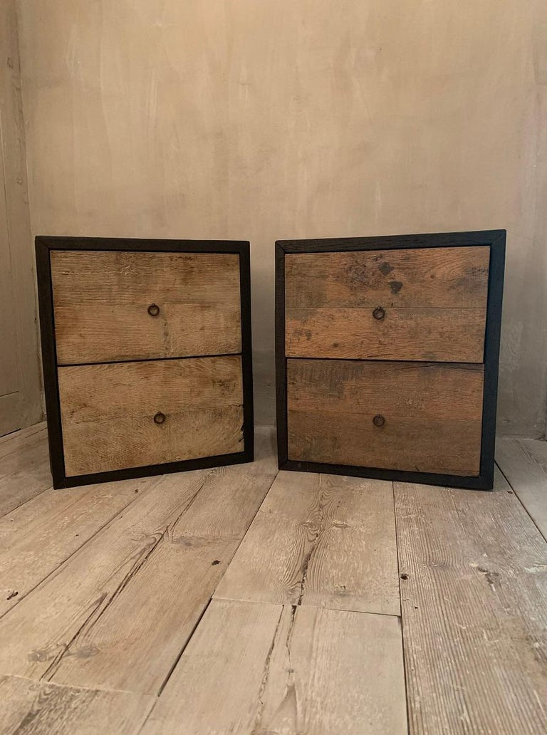 Contemporary Pair of Nightstands Sidetablesin Recycled Old Oak