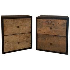 Pair of Nightstands Sidetablesin Recycled Old Oak