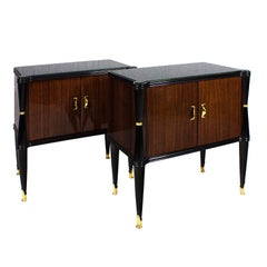 Pair of Nightstands, Style V. Dassi, Mahogany, Opaline, Italy, 1940s