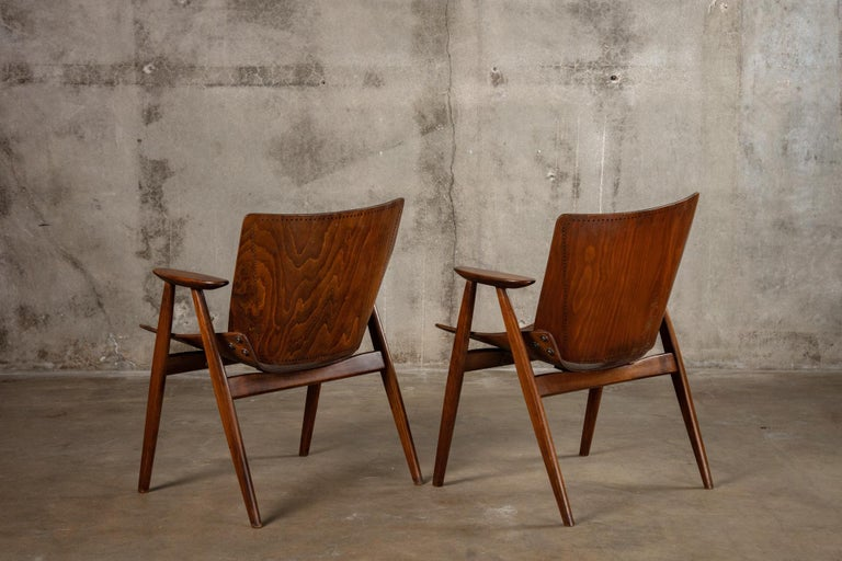 Laminated Pair of Niko Kralj Shell Armchairs For Sale