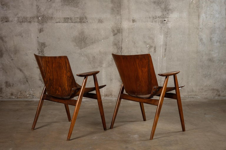 Pair of Niko Kralj Shell Armchairs In Fair Condition For Sale In Los Angeles, CA