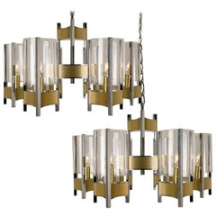 Pair of Nine-Light Chrome Brass and Glass Chandelier by Gaetano Sciolari, 1960s