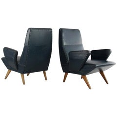 Pair of Nino Zoncada Armchairs of Dark Green Imitation Leather and Wooden Legs