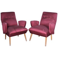 Pair of Nino Zoncada Mid-Century Wood and Red Satin Covering Armchairs Italy 50s