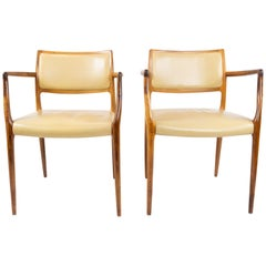 Pair of N.O. Moeller Armchairs, Model 65, in Rosewood, from the 1960s