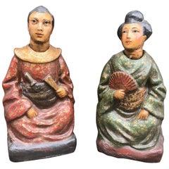 Pair of Nodding Figures, China Trade Papier Mache, Rare Chinese