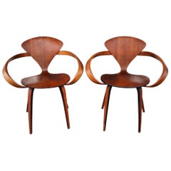 Pair of Norman Cherner Bentwood Pretzel Chairs in Walnut for Plycraft