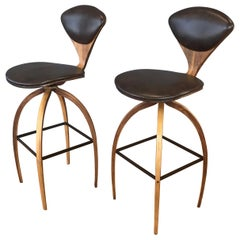 Pair of Norman Cherner for Plycraft Tall Walnut Swivel Barstools, 1960s