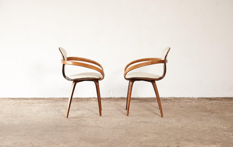 Faux Leather Pair of Norman Cherner Pretzel Armchairs, Plycraft, USA, 1960s