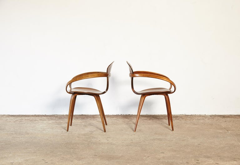 20th Century Pair of Norman Cherner Pretzel Dining Chairs, Made by Plycraft, USA, 1960s For Sale