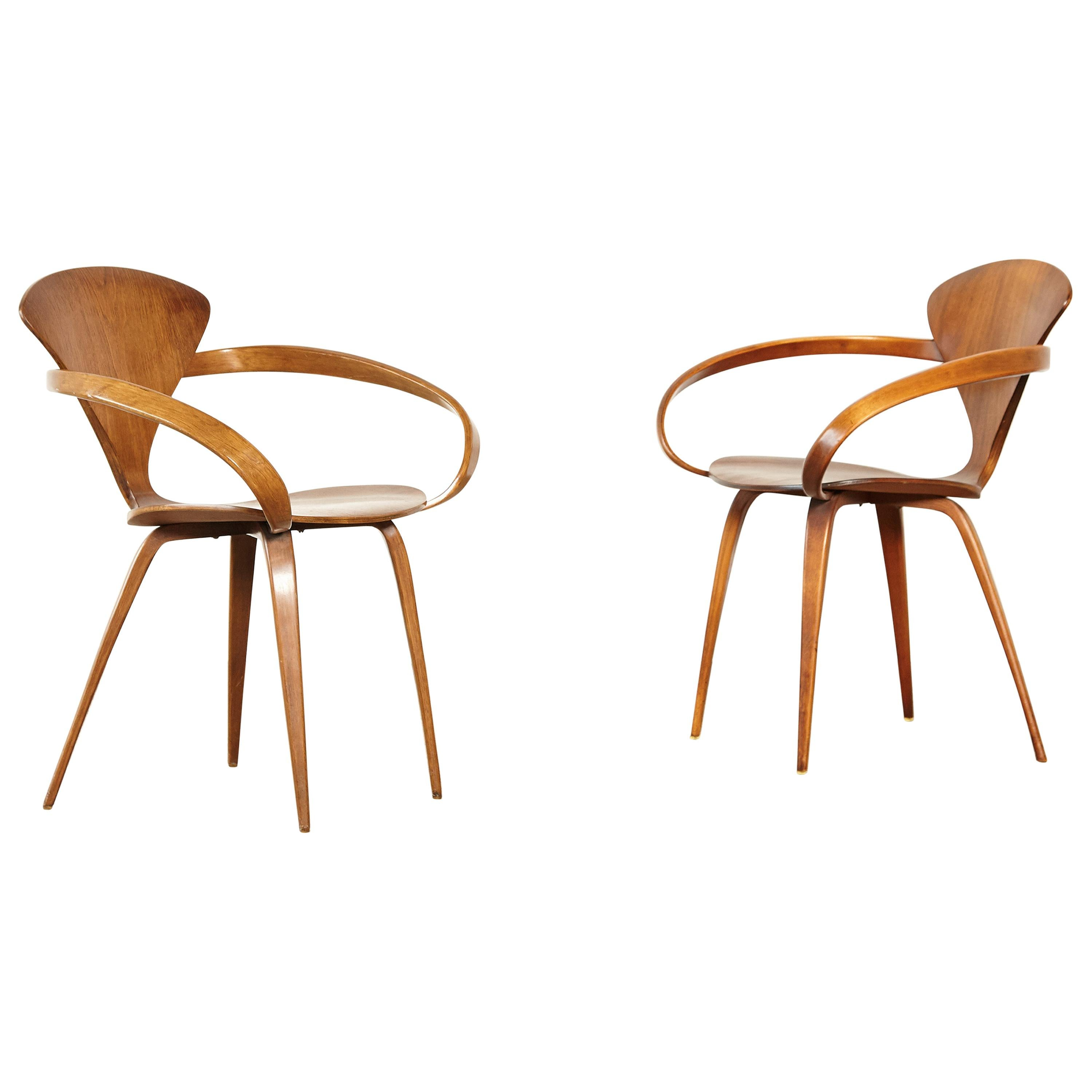 Pair of Norman Cherner Pretzel Dining Chairs, Made by Plycraft, USA, 1960s