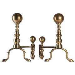 Pair of North American Baroque Style Turned Brass Andirons, circa 1900