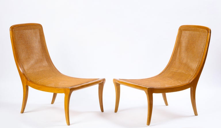 Pair of North European Caned Birch Chaises, Mid-20th Century In Good Condition For Sale In New York, NY