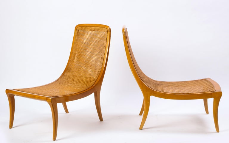 Pair of North European Caned Birch Chaises, Mid-20th Century For Sale 3
