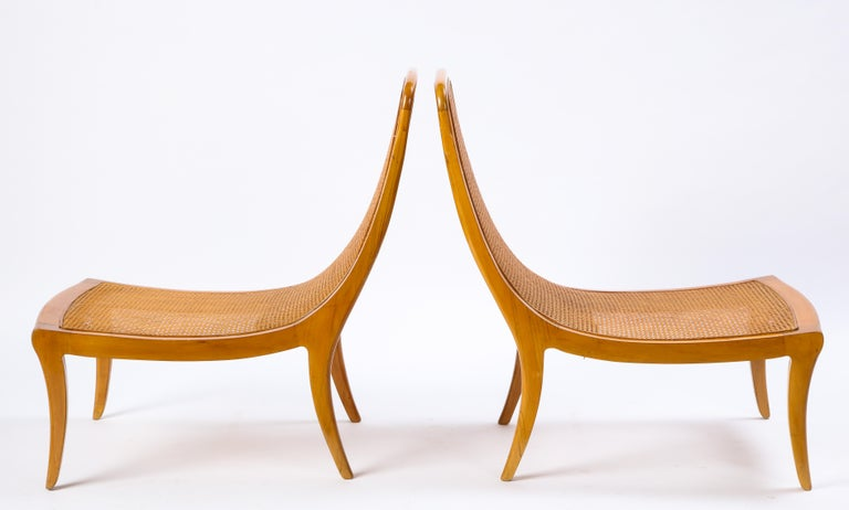 Pair of North European Caned Birch Chaises, Mid-20th Century For Sale 4