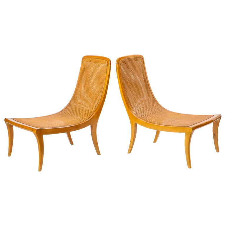 Pair of North European Caned Birch Chaises, Mid-20th Century For Sale