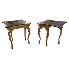 Pair of North European Giltwood Game Tables with Chinese Export Lacquer Tops