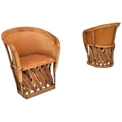 Pair of North or Native American Chairs in Leather and Wood