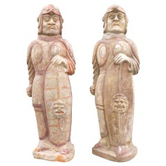 Pair of Northern Ch'i Dynasty Painted Pottery Warrior Guardians