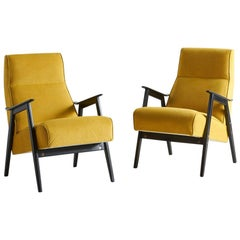 Pair of Northern European Black and Yellow Lounge Chairs
