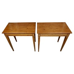 Pair of Northern European Neoclassical Parcel Gilt Side Tables with Drawers