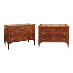Pair of Northern Italian Neoclassical Marquetry Inlaid Commodes, circa 1800