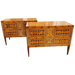 Pair of Northern Italian Star Inlaid Walnut Commodes