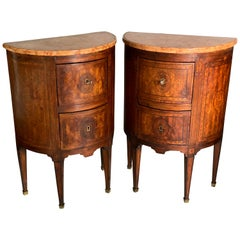 Pair of Northern Italian Walnut Demilune Commodinis