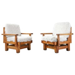 Pair of Northern Spanish Armchairs with Sheepskin Upholstered Cushions