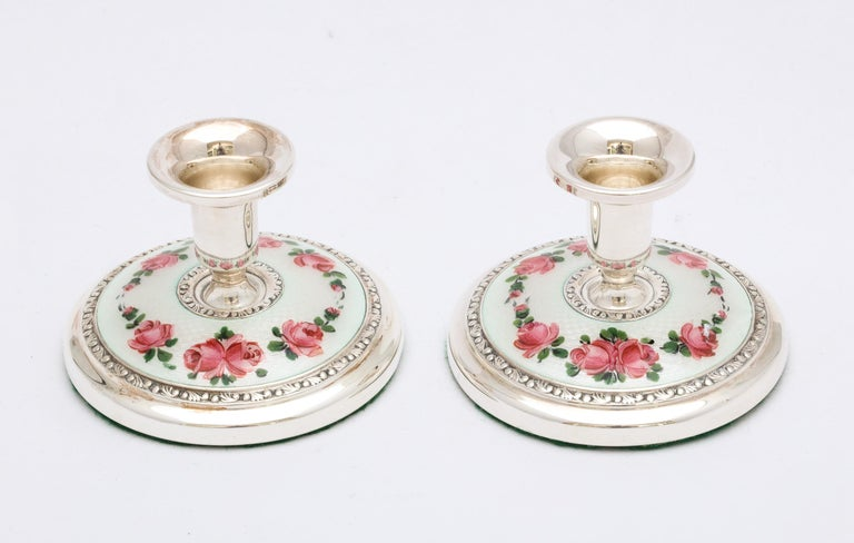 Pair of Norwegian Art Deco Sterling Silver and Guilloche Enamel Candlesticks For Sale 6
