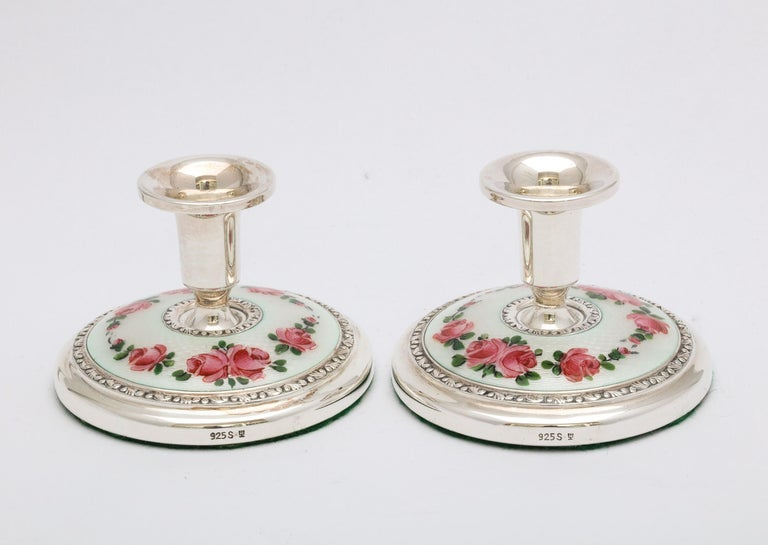 Mid-20th Century Pair of Norwegian Art Deco Sterling Silver and Guilloche Enamel Candlesticks For Sale