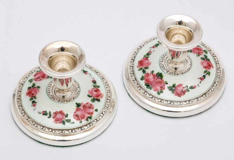 Pair of Norwegian Art Deco Sterling Silver and Guilloche Enamel Candlesticks For Sale 2