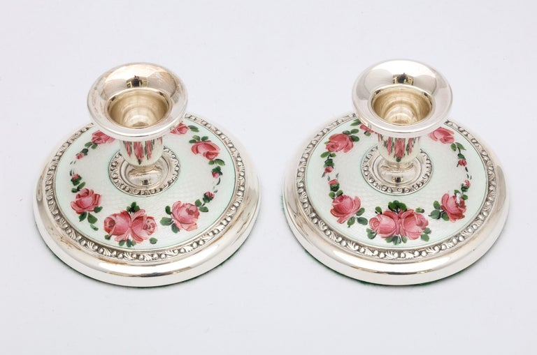 Pair of Norwegian Art Deco Sterling Silver and Guilloche Enamel Candlesticks For Sale 3