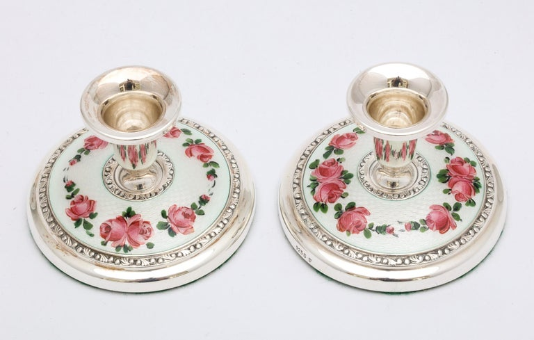 Pair of Norwegian Art Deco Sterling Silver and Guilloche Enamel Candlesticks For Sale 4