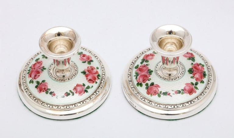 Pair of Norwegian Art Deco Sterling Silver and Guilloche Enamel Candlesticks For Sale 5