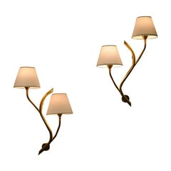 Pair of Norwegian Branch Brass Wall Lamps from Astra, 1956