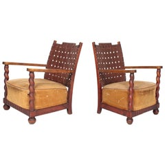 Pair of Norwegian Lounge Chairs with Patinated Leather, 1940s