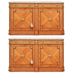 Pair of Notable Parquetry Marble Top Sideboard Cabinet