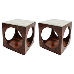 Pair of Novo Rumo Brazilian 1960s Jacaranda Wood Side Tables with Marble Tops
