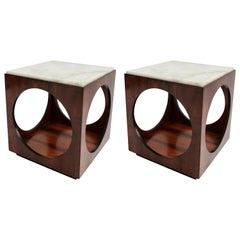 Pair of Novo Rumo Brazilian 1960s Jacaranda Wood Side Tables with Marble Tops
