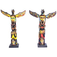 Pair of Nuu-Chah-Nulth Model Totems